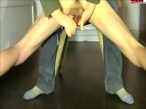 Handjob amateur from behind on all 4s for a HUGE cumshot