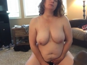 BBW mom with hairy pussy BBC fantasy sucks long black dildo