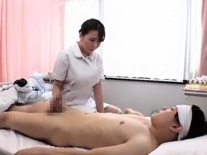 Shaved asian whore gives handjob blowjob