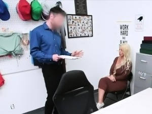 Fucking huge boobie MILFs mouth at the office