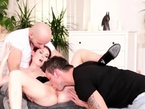 Foxy red-haired chick fucking with bisexuals