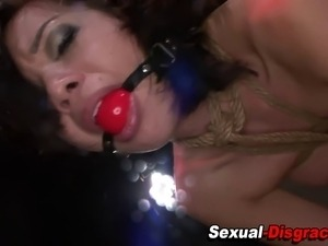 Slave slut ballgagged and fucked