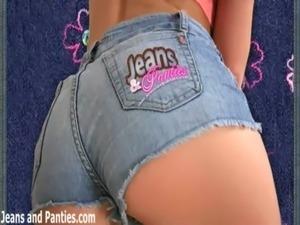 Petite teen Missy masturbating in tight blue jeans free