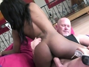 Black coed Coffee Brown gets her ebony twat stuffed