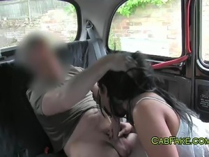 Hor British tanned amateur Hannah picked up by a fake taxi to a train station...