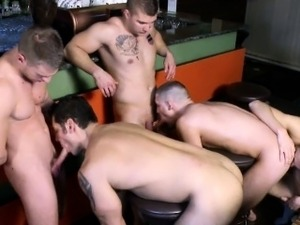 Closeup gay orgy amateurs in some relaxed bar