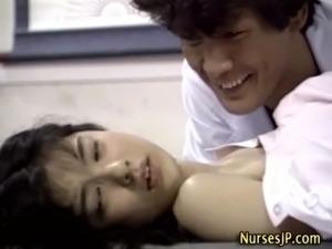 Japanese nurse hottie gets a cumshot free