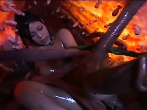Sticky tentacles fuck nude asian girl vagina