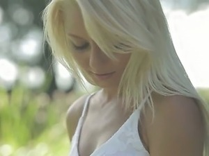 blondie beauty from Sweden touching clit