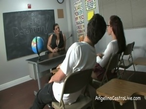 Busty Angelina Castro Threeway FootFetish BJ in Class! free