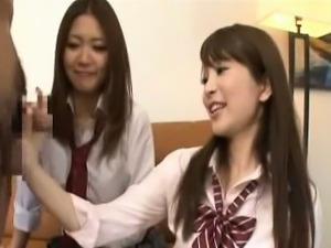 Subtitled CFNM Japanese schoolgirls tagteam fellatio