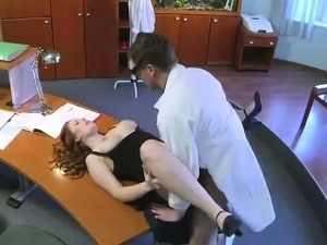 Busty assistant gets licked and fucked by the doctor