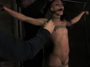 Mouth gagged skank getting punished