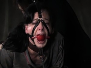 Bruised and mouth gagged skank being caned