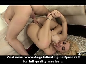 Sporty blonde fucked in extreme positions and doing blowjob