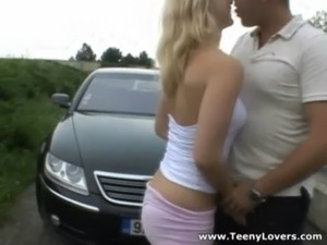 Teeny Lovers - Sporty blonde outdoor fuck free