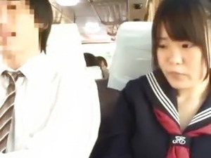 Public Bus Puts Her Face In A Bus Riders Lap