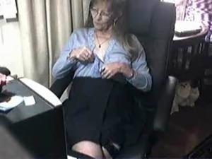 Pervert cute granny having fun at computer. Amateur free