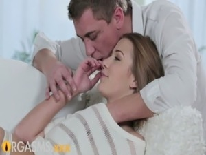 ORGASMS Young girl enjoys foreplay before passionate romantic sex with lover...
