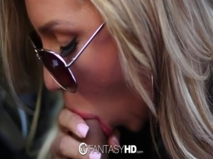 HD - FantasyHD Hitchhiker Cameron Dee gets creampie on car free