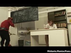 Midget guy seducing and fucking female teacher.