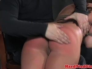 BDSM sub ass is bright red from OTK spank