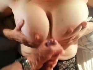 Amateur Mature with big boobs POV handjob