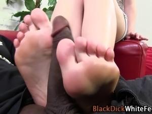 White sluts feet tug ebony dick