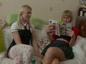 Keira and Gena are two sweet blondes that give lesbian