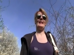 Real amateur Czech girl Meggie banged in public place for money free