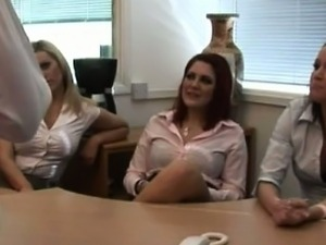 CFNM office sluts scoff at his cock