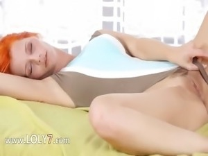 Redhaired busty beauty undress snatch
