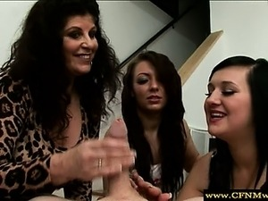 Euro cfnm femdom mature and babes together wank cock