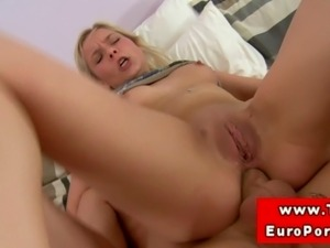 Teen blonde babe loves anal and atm and it satisfies her