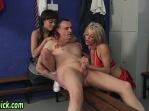Femdom cheerleaders sucks cock and give hj with cumshot