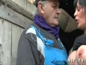 French papy doing a busty milf with a young friend free