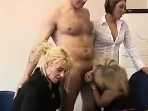 Three bad British girls suck CFNM guys cock