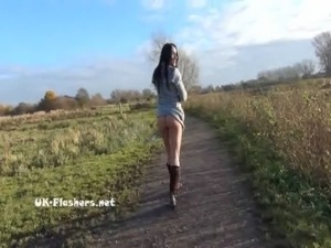 Toying british brunette Honestys outdoor masturbation and public nudity of...