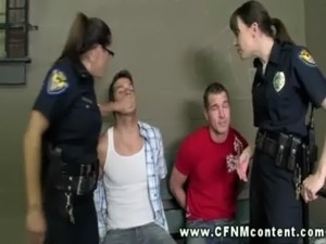 Two horny female cops arrest juveniles and make a plan to get off free