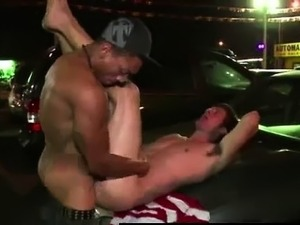 Gay dude getting interracial ass fuck outdoors