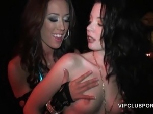 Horny party girls flashing boobs and twats in the VIP r