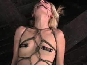 St Andrews Cross tied up blonde sub punished