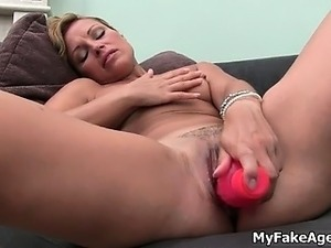 Hot blonde babe gets horny dildo fucking part5
