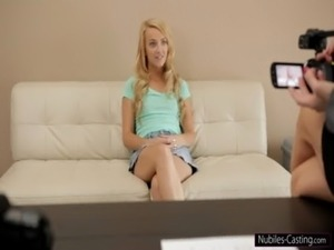 Nubiles Casting - Cute blonde gets her first shot at porn free
