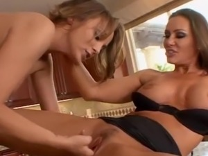 Horny lesbian glamour MILF eats babes pussy on the kitchen counter