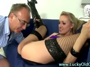 Older British guy ass fucks a blonde slut in boots
