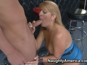 Big breasted blonde milf Robbye Bentley in short blue dress