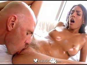 Latina Janice Griffith is fucked in her oiled pussy