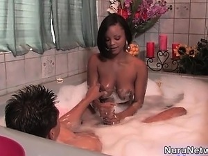 Hot ebony babe gives an awesome blowjob part6