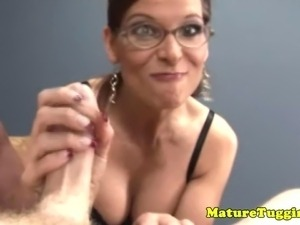 Busty cougar slut tugging on the dudes big dick
